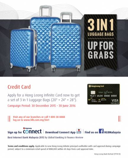 Hong Leong Credit Card Promotion 3 In 1 Luggage Bag Up